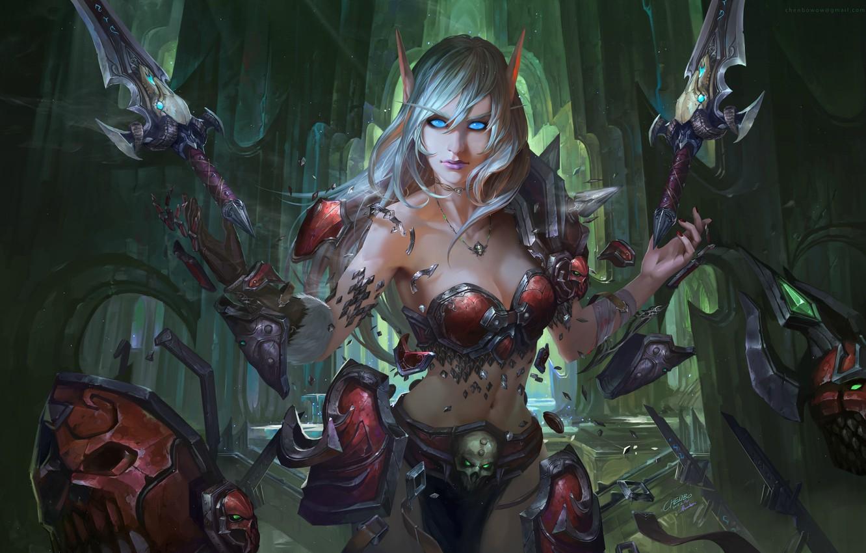 Photo wallpaper girl, World of Warcraft, elf, fan art, Blood Elf, Chen Bo