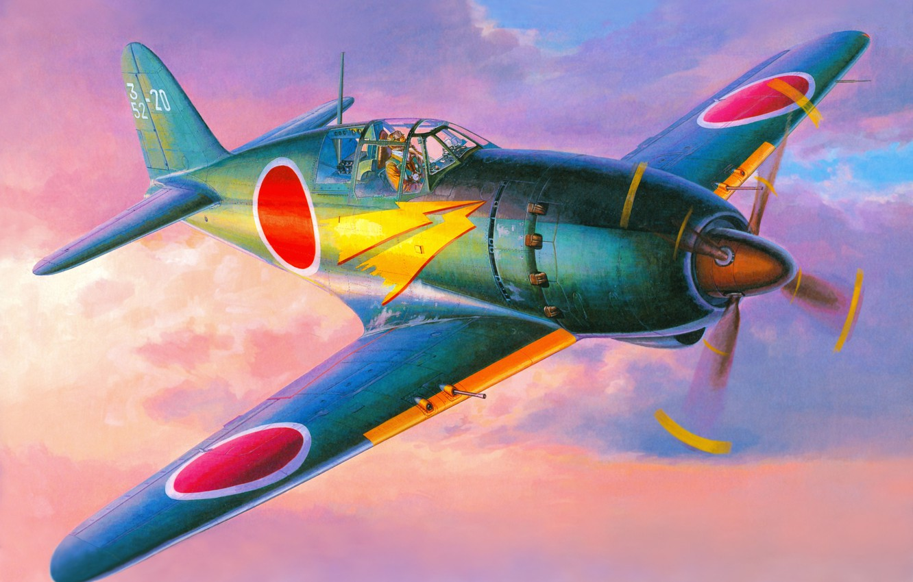Photo wallpaper the sky, figure, art, Mitsubishi, the plane, The second world war, Japanese, fighter-interceptor, J2M Raiden
