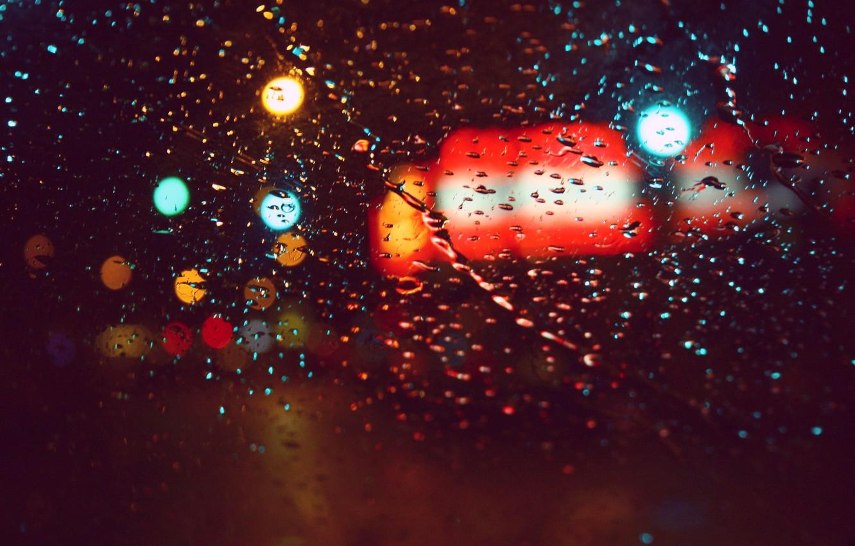 Photo wallpaper glass, color, drops, macro, lights, glare, rain