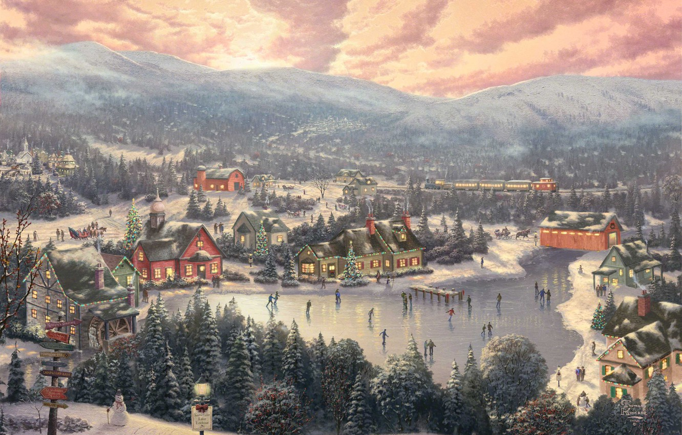 Photo wallpaper winter, forest, sunset, mountains, bridge, the city, lake, holiday, train, spruce, Christmas, mill, New year, …