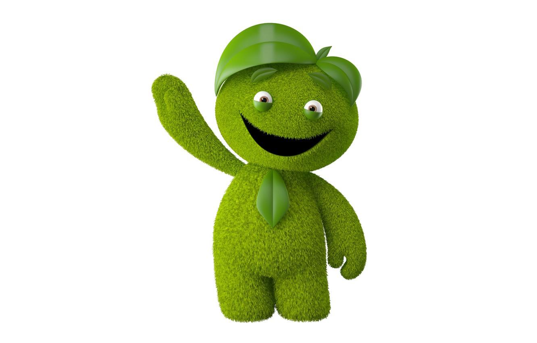 Photo wallpaper joy, bright smiling monster on a white background, monster green man