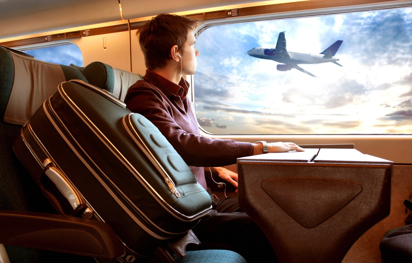 Photo wallpaper the plane, the window, guy, trip, Luggage