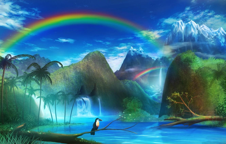 Photo wallpaper landscape, mountains, river, palm trees, bird, rainbow, art, monorisu