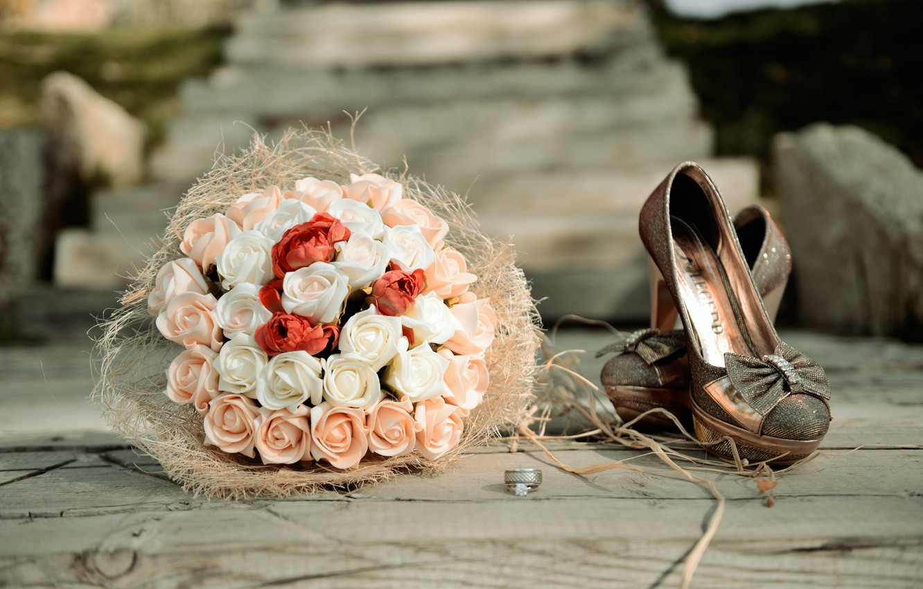 Photo wallpaper flowers, roses, bouquet, ring, shoes, wedding