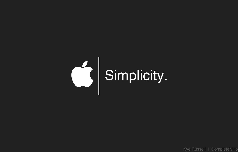 Photo wallpaper Apple, logo, white, black