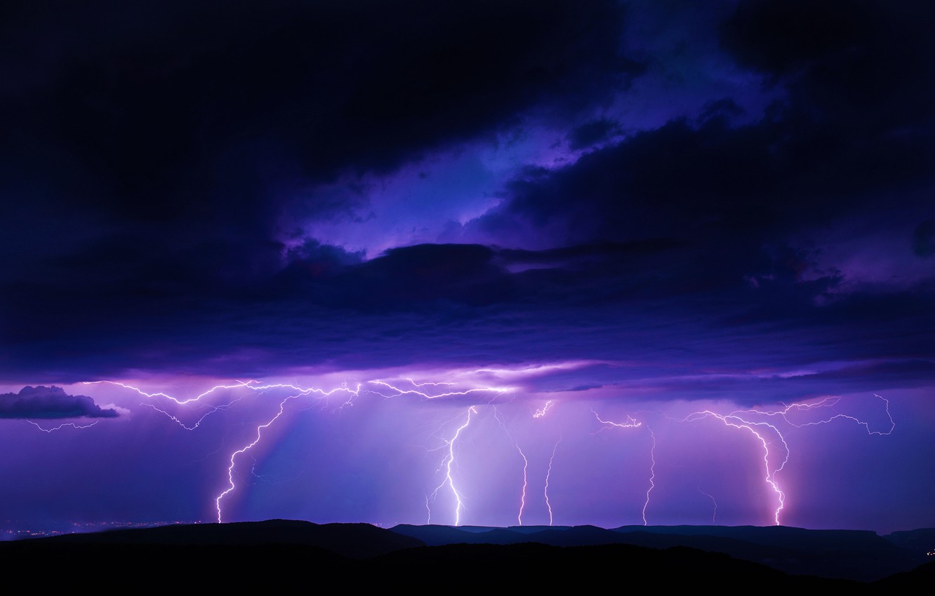Photo wallpaper Lightning, Storm, Rain, Attack, Strike, Weather, Thunderstorm