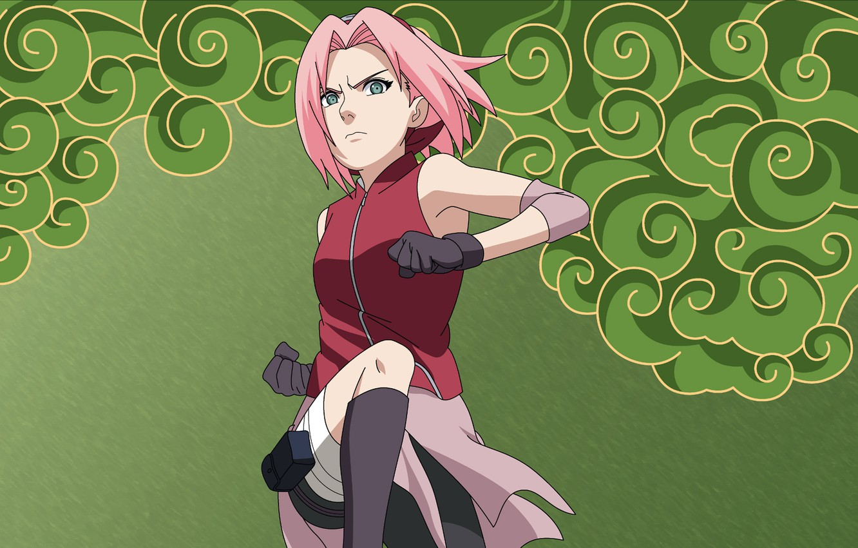 Photo wallpaper jump, Sakura, gloves, naruto, headband, Naruto, Sakura, fists, pink hair, Haruno