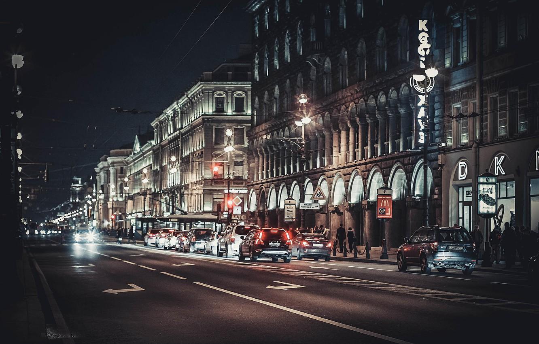 Photo wallpaper night, street, Peter, Saint Petersburg, Russia, SPb, St. Petersburg, Nevsky Prospekt, spb