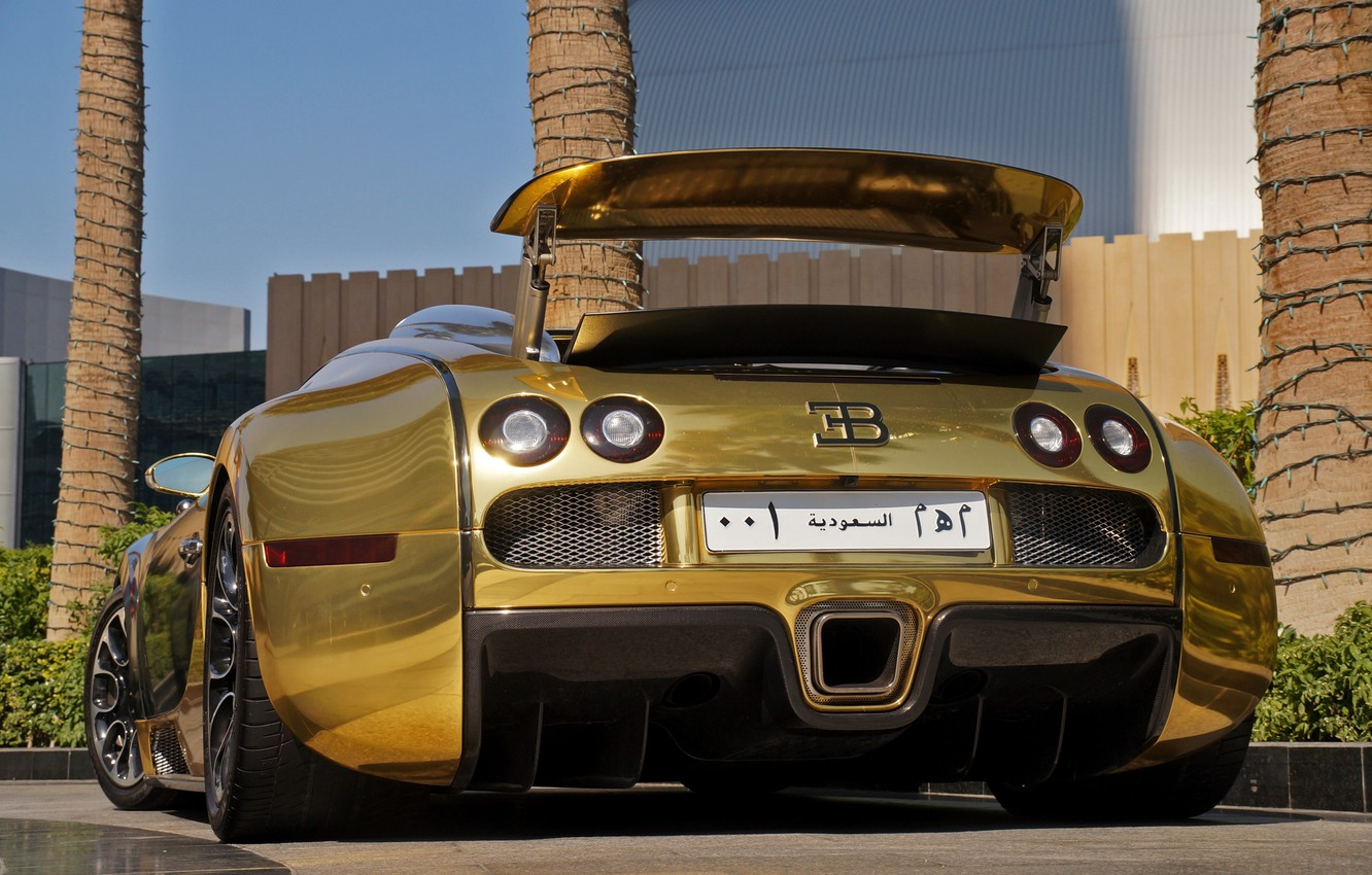 Photo wallpaper Bugatti, Veyron, Gold, Supercar, Supercar, Vitesse, Gold