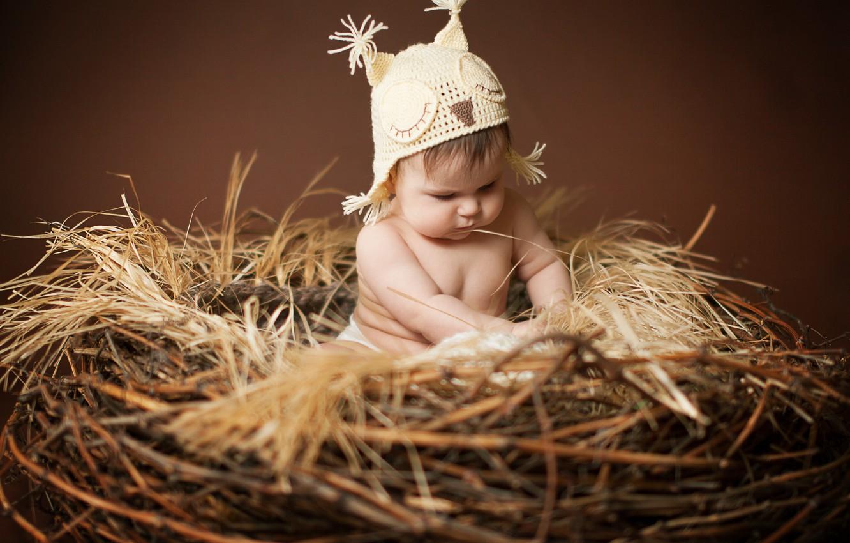 Photo wallpaper children, owl, hat, baby, socket, ears, child, cap, Anna Levankova