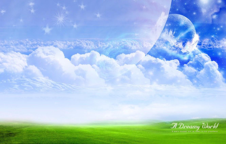 Photo wallpaper field, clouds, Treatment