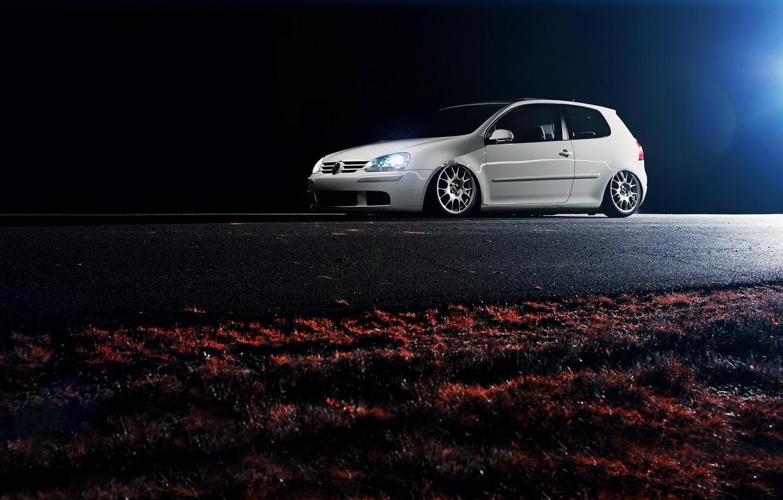 Photo wallpaper white, night, white, Golf, golf, Volkswagen, Volksvagen, mk5