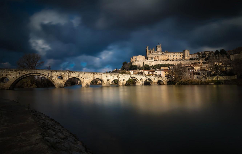 Photo wallpaper bridge, river, France, home, Languedoc-Roussillon, Beziers, Orb