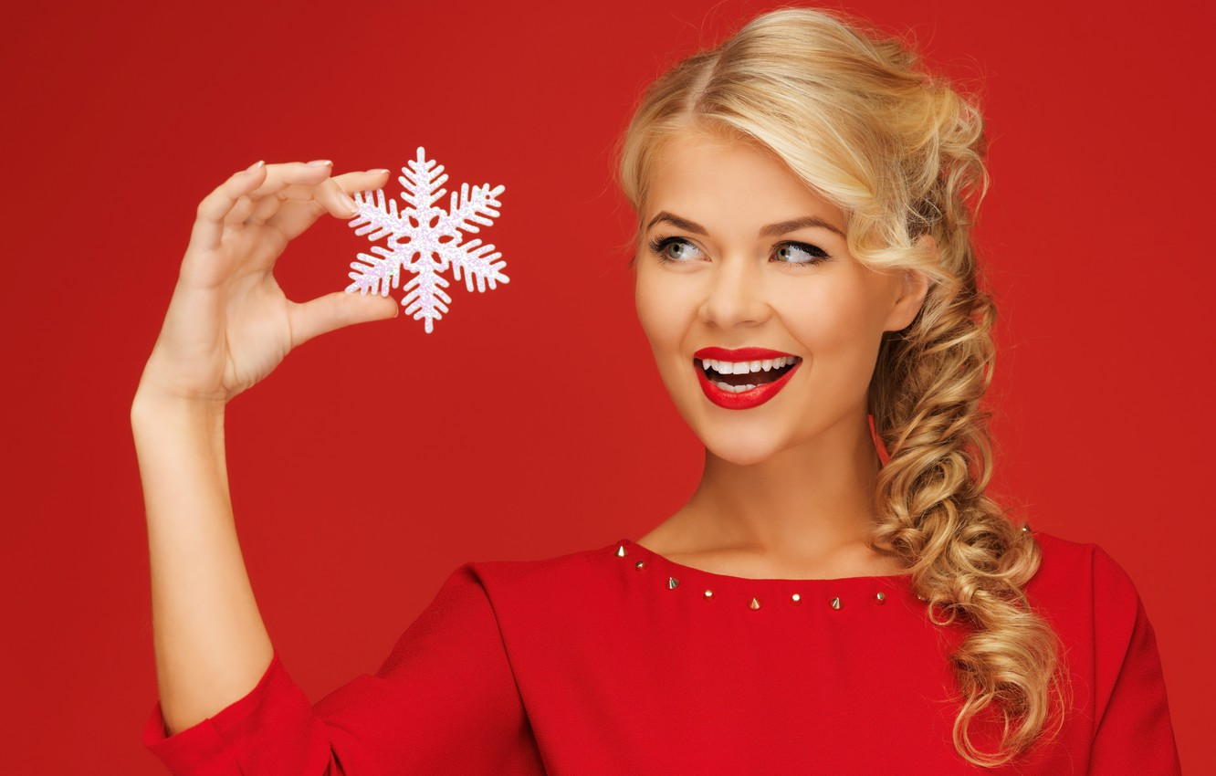 Photo wallpaper girl, red, smile, background, hand, blonde, snowflake