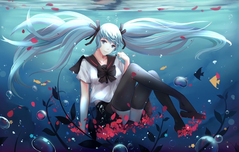 Photo wallpaper girl, fish, smile, anime, petals, art, form, schoolgirl, vocaloid, hatsune miku, under water, satorixxx