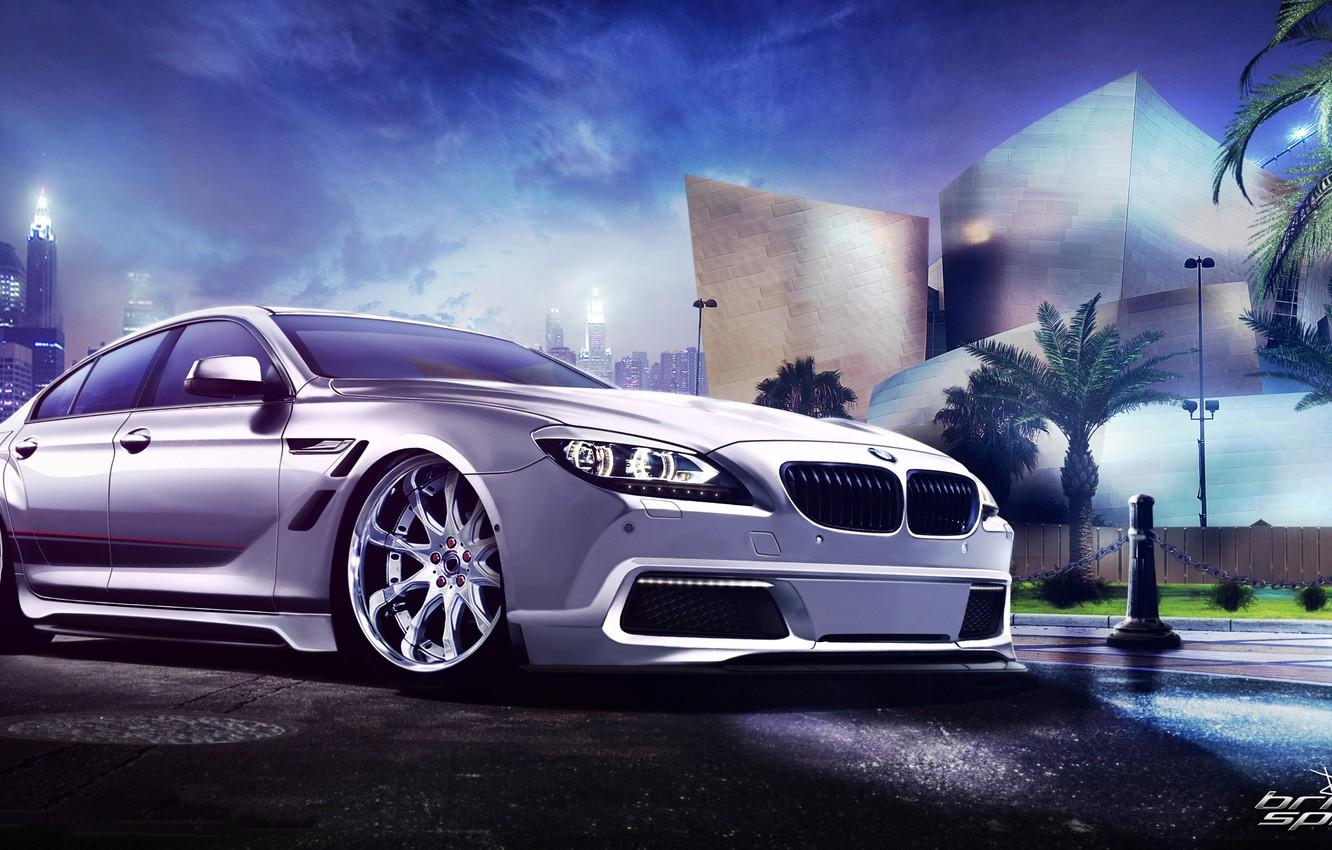 Photo wallpaper white, night, the city, palm trees, BMW, BMW, white, skyscrapers, front, kit, 6 Series