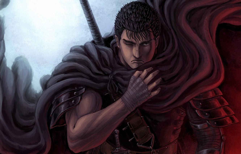 Photo wallpaper sword, armor, knives, cloak, scar, anime, art, berserk, GATS boy