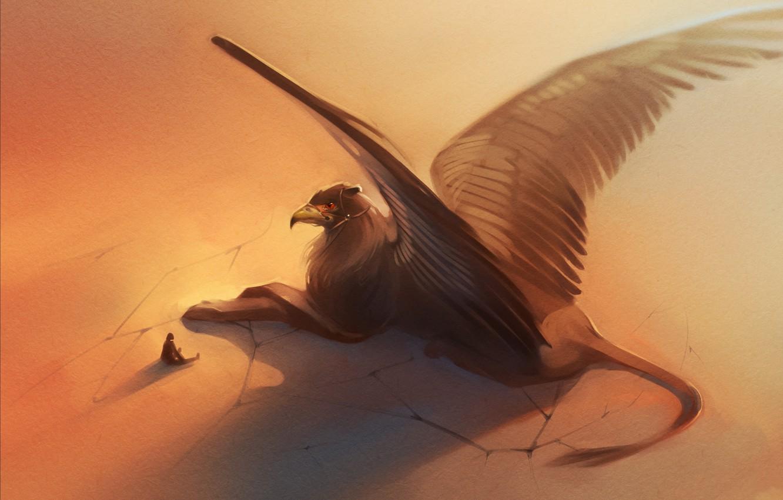 Photo wallpaper people, wings, beak, art, tail, Griffin
