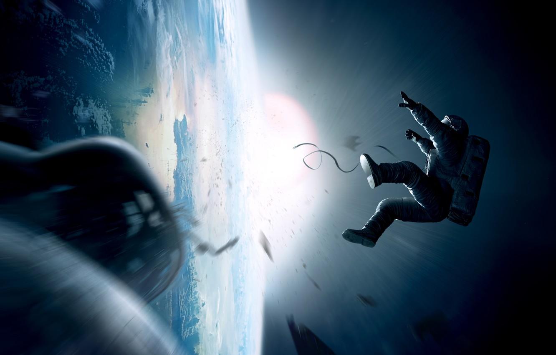 Photo wallpaper the sun, astronaut, earth, gravity, Gravity
