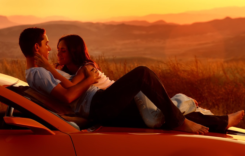Photo wallpaper machine, sunset, people, romance, Love, Transformers, a couple