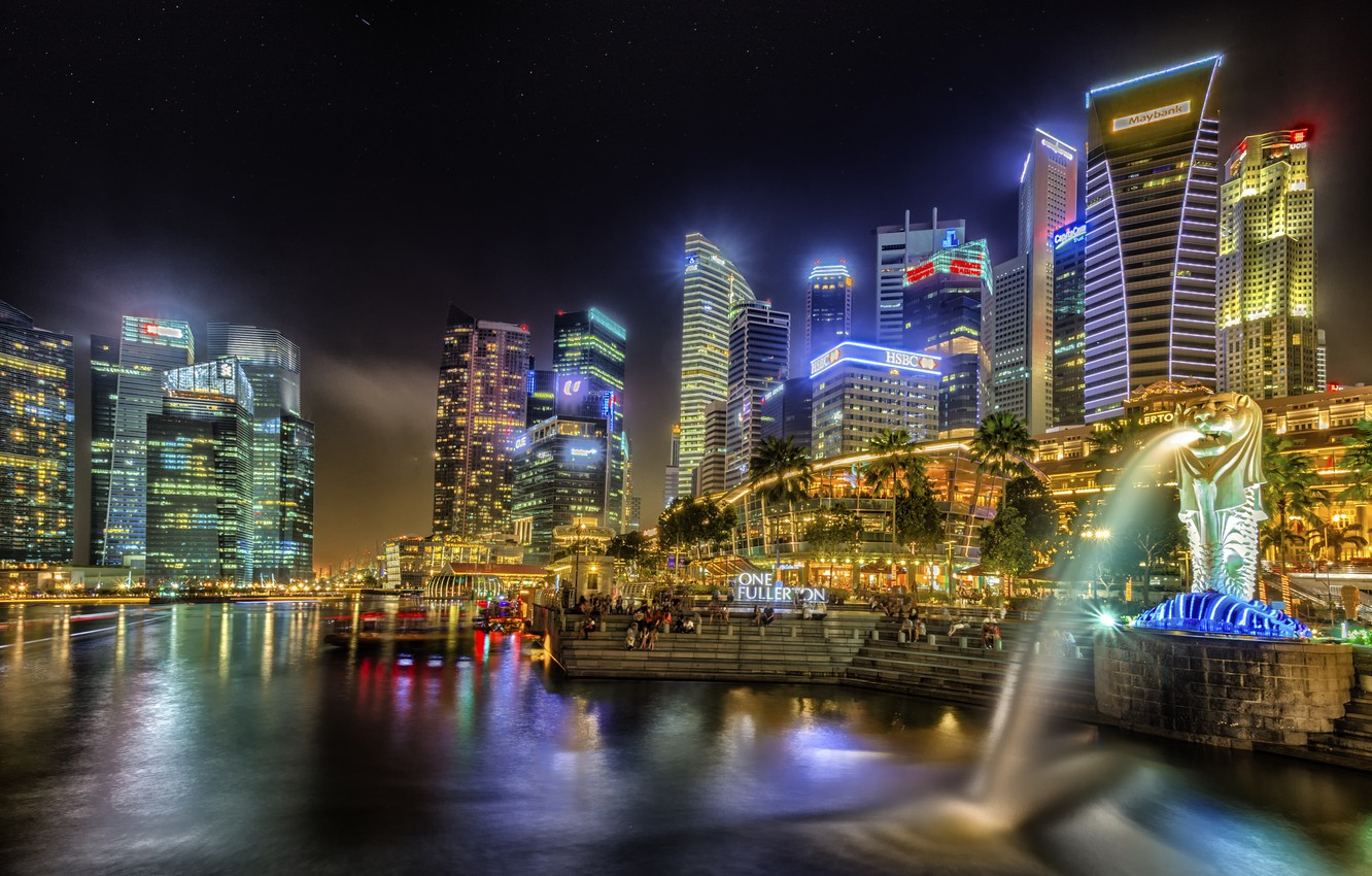 Photo wallpaper building, home, the evening, Singapore, skyscrapers, Singapore, naght, sity, lights.
