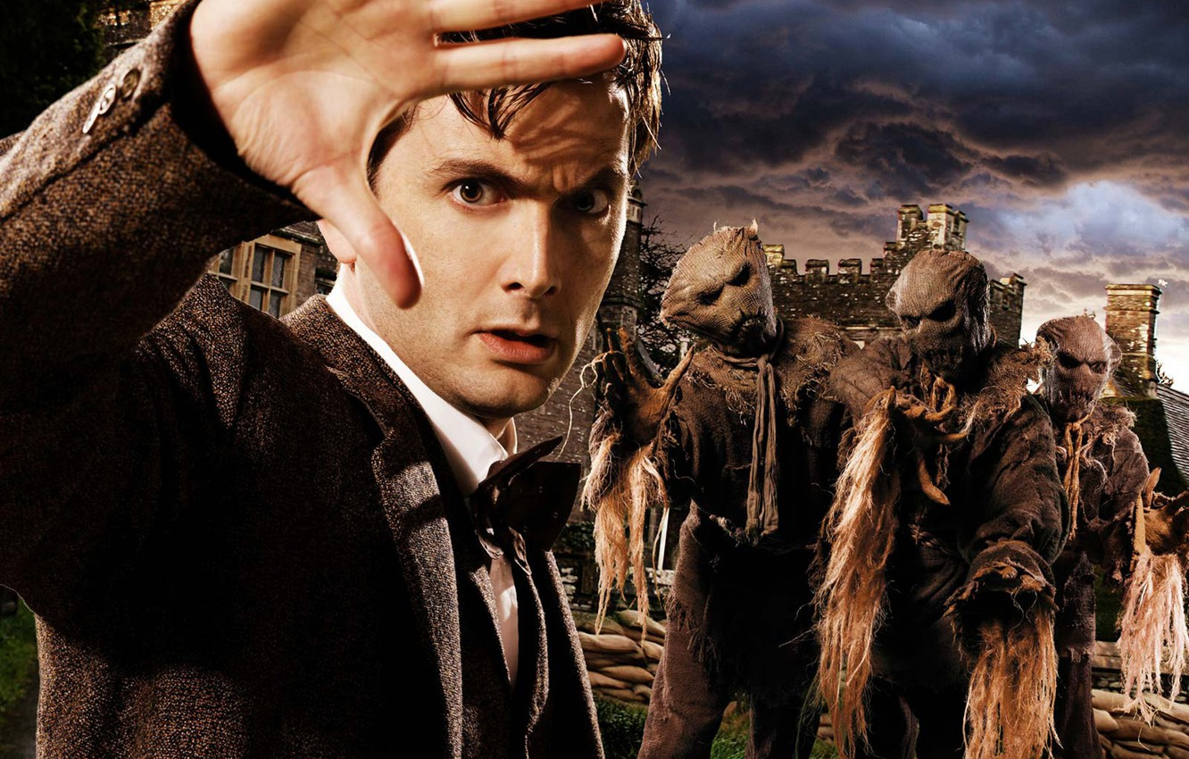 Photo wallpaper the sky, look, clouds, the darkness, hand, costume, the series, jacket, palm, Doctor Who, Scarecrow, …