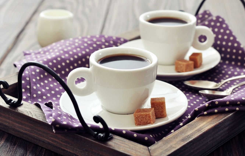 Photo wallpaper cubes, coffee, Breakfast, milk, Cup, sugar, napkin, tray, spoon