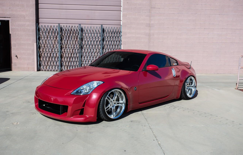 Photo wallpaper nissan, red, wheels, 350, hrom