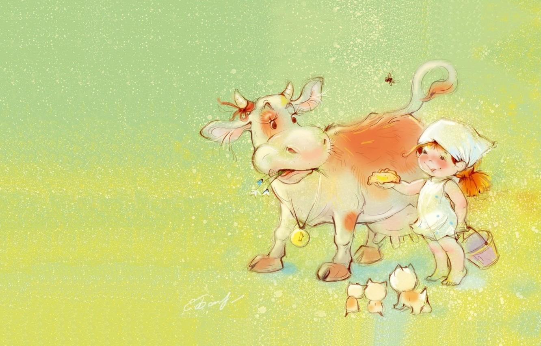 Photo wallpaper summer, mood, cow, village, art, girl, kittens, children's, treat, Catherine Attendants