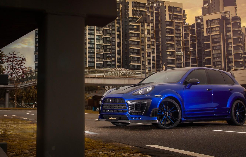 Photo wallpaper blue, tuning, cayenne, porsche, drives, Porsche, kit