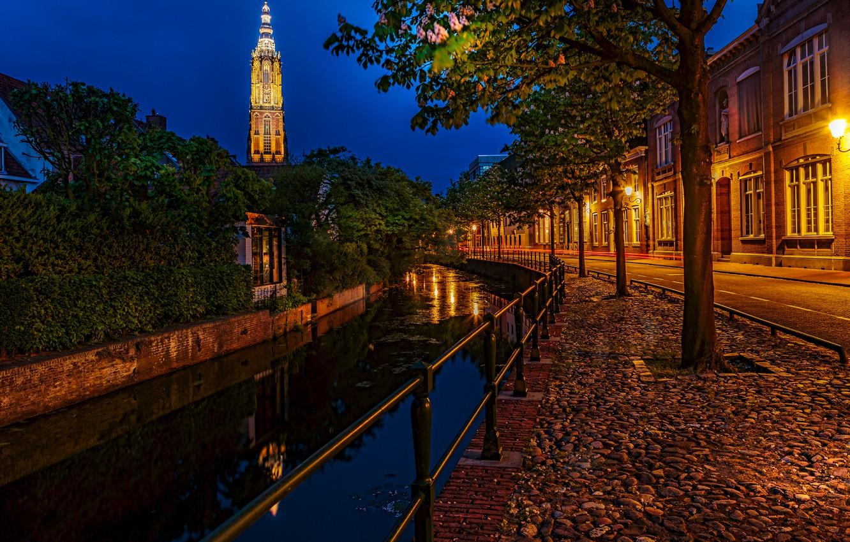 Photo wallpaper night, lights, lights, channel, Netherlands, alley, night, Netherlands, Houses, Amersfoort