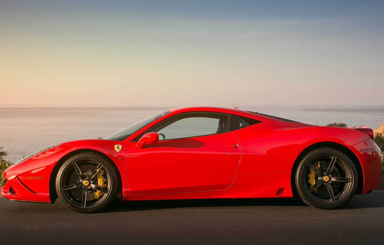 Photo wallpaper red, black, profile, red, ferrari, Ferrari, drives, 458 speciale, supports