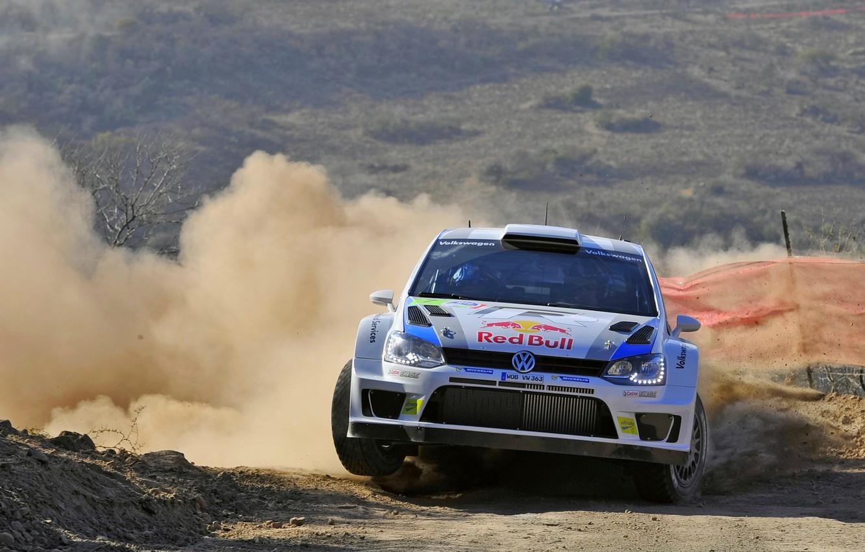 Photo wallpaper Volkswagen, Turn, Skid, WRC, Rally, Rally, The front, Polo, Sebastien Ogier, Julien Ingrassia