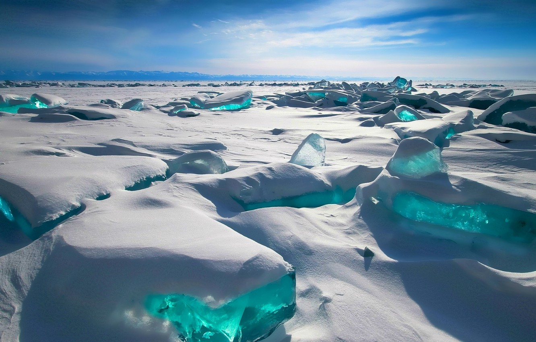 Photo wallpaper The sky, Winter, Mountains, Lake, Snow, Baikal, ice, Russia, Ice, Russia, sky, winter, mountains, snow, …