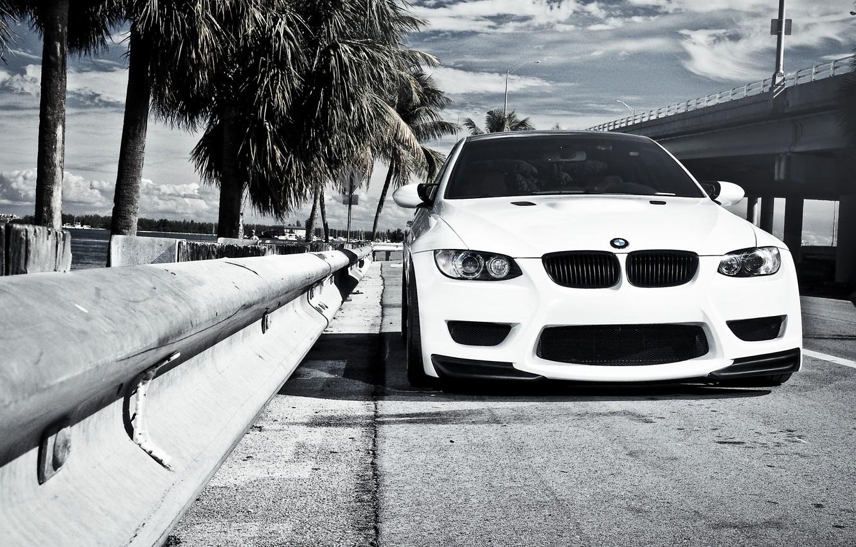 Photo wallpaper white, bridge, BMW, BMW, the fence, white, E92