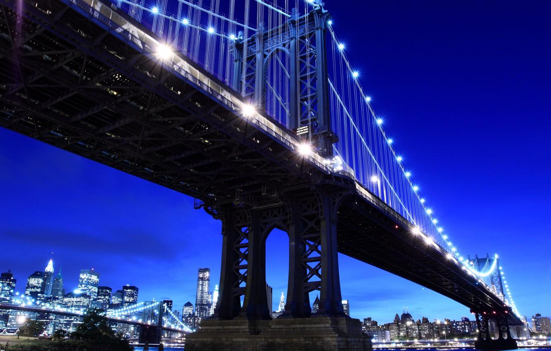 Photo wallpaper night, heart, New York, USA, Brooklyn bridge, megapolis, night, New York city