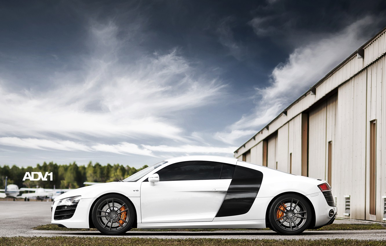 Photo wallpaper white, the sky, clouds, Audi, Audi, hangar, supercar, side view, aircraft, adv.1, B10, v10