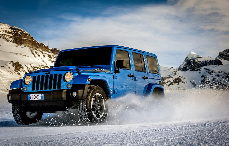 Photo wallpaper machine, auto, snow, mountains, car, Jeep Wrangler Polar