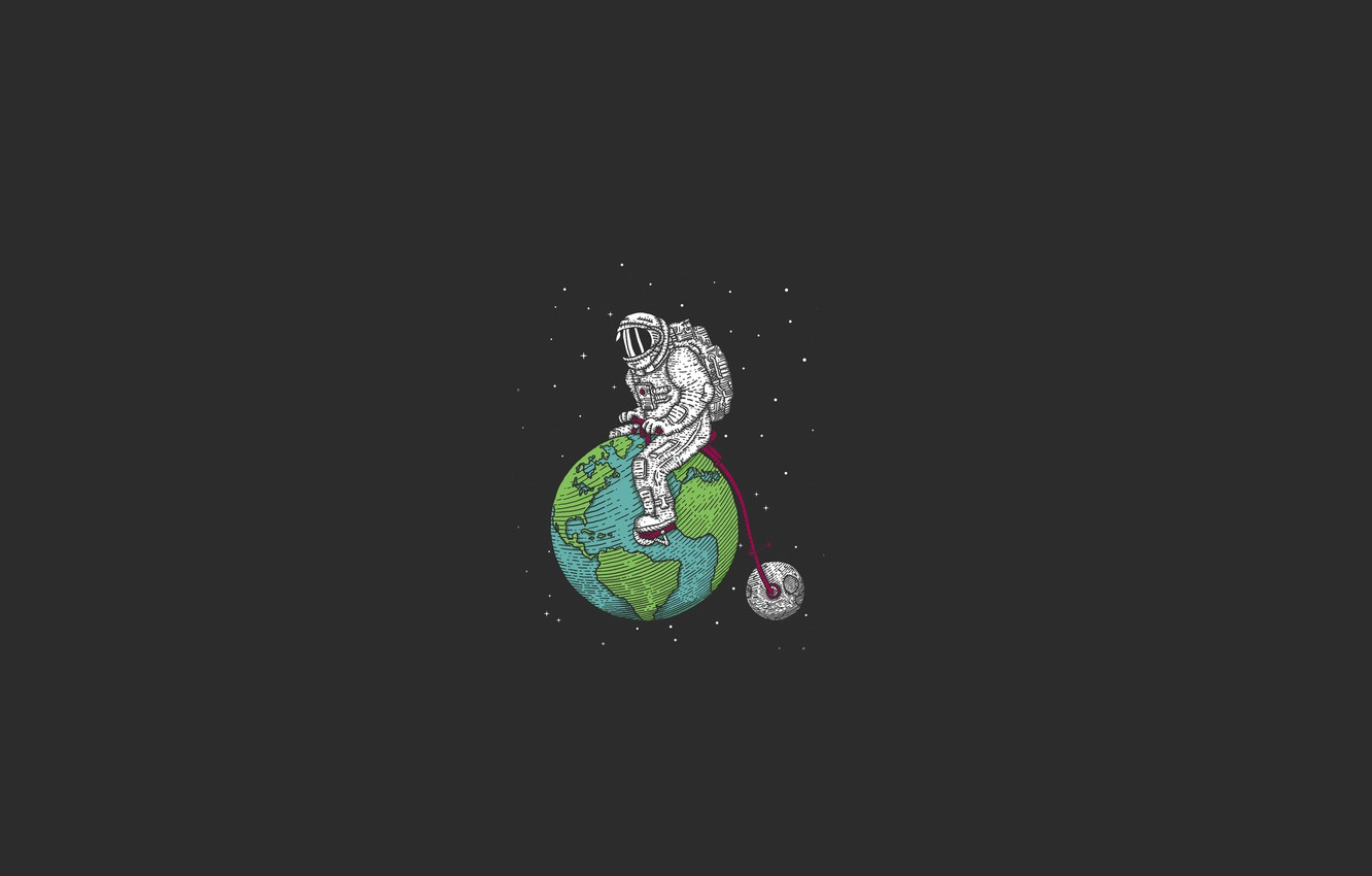 Photo wallpaper space, stars, bike, earth, the moon, satellite, minimalism, the suit, abyss, astronaut, planets