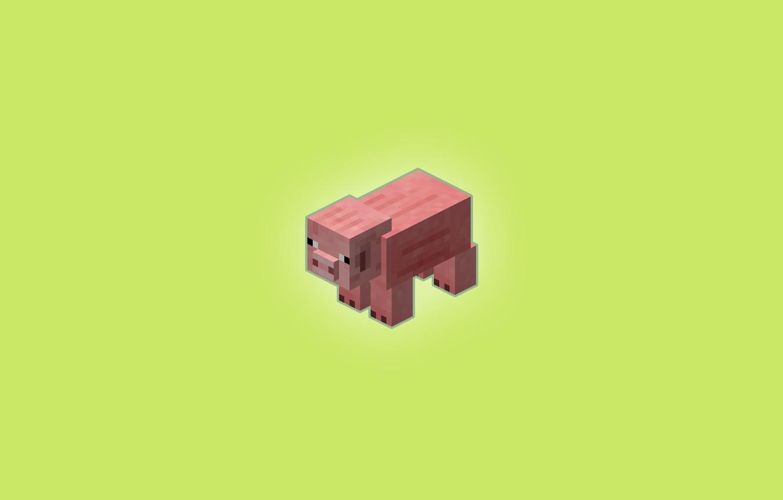 Photo wallpaper Minimalism, Pig, Table, Wallpaper, Background, Beautiful, Minecraft, mob, Minecraft, mob, Pig, Pig, Piglet, Zelny
