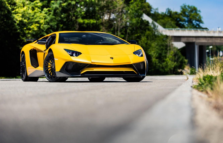 Photo wallpaper Lamborghini, Yellow, Aventador, Superveloce, LP-750