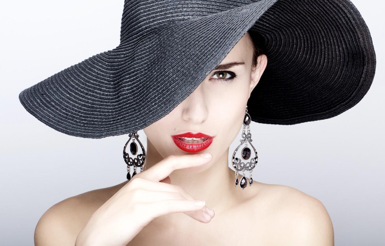 Photo wallpaper model, earrings, Hat, fashion