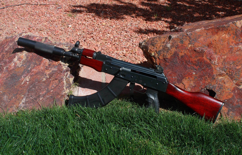 Photo wallpaper grass, stones, weapons, machine, Kalashnikov, AK-74