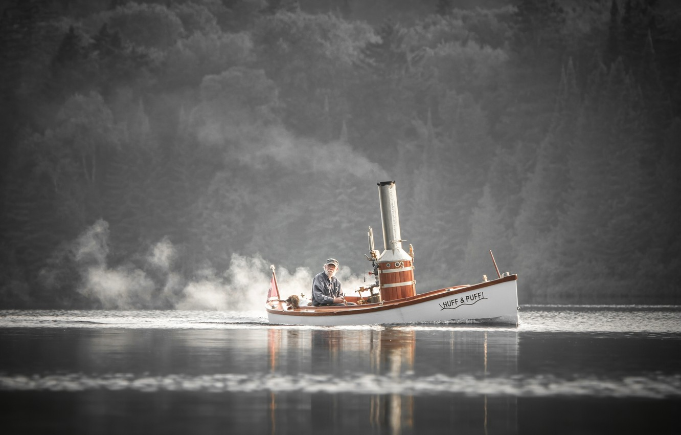 Photo wallpaper river, boat, dog, the old man, steam boat