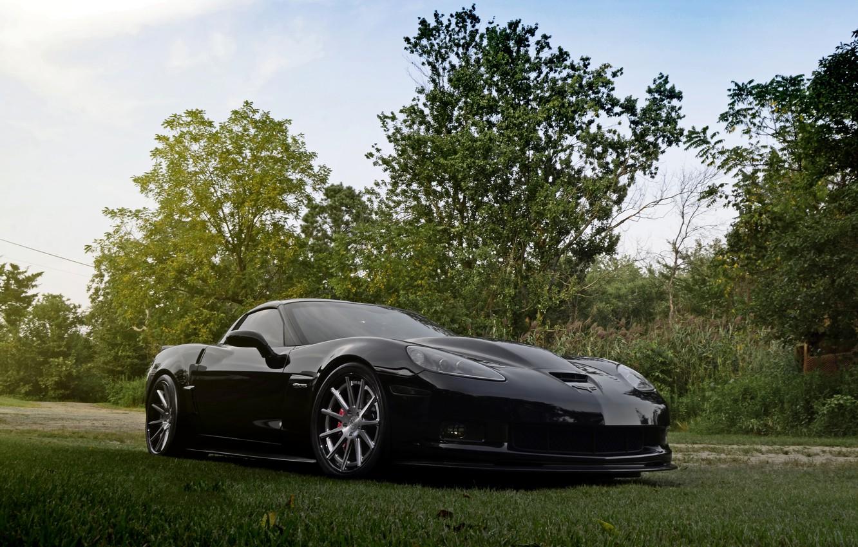 Photo wallpaper wheels, corvette, chevrolet, z06, forged, strasse