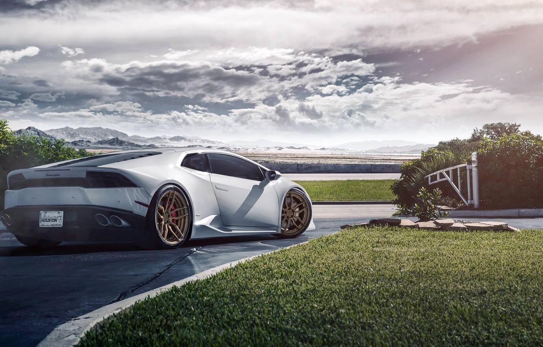 Photo wallpaper Lamborghini, Houston, Matte, Texas, Wheels, Rear, ADV.1, Huracan, LP640-4, Bronze