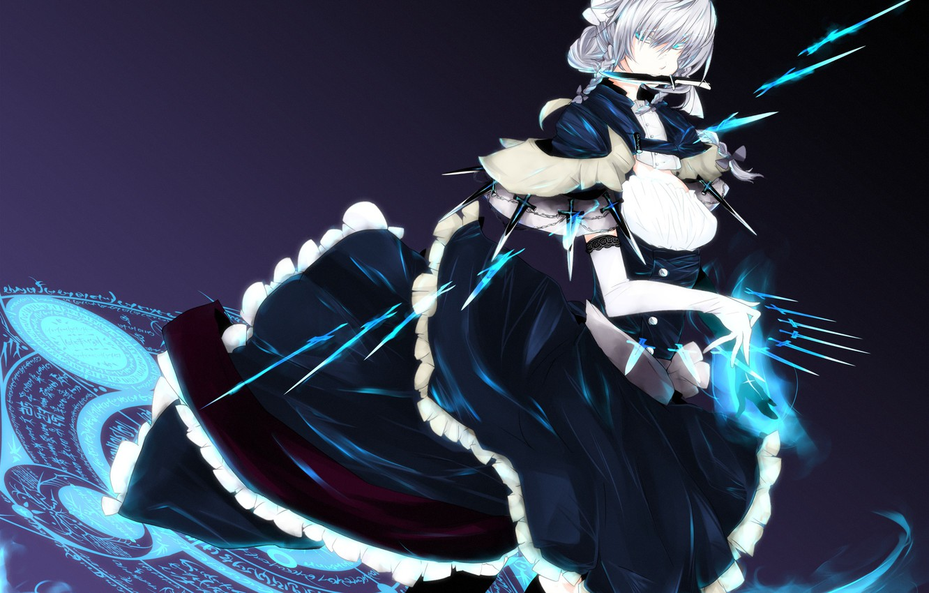 Photo wallpaper girl, labels, anime, art, knife, gloves, braids, cap, touhou, the maid, izayoi sakuya, tp65pxu4, the …