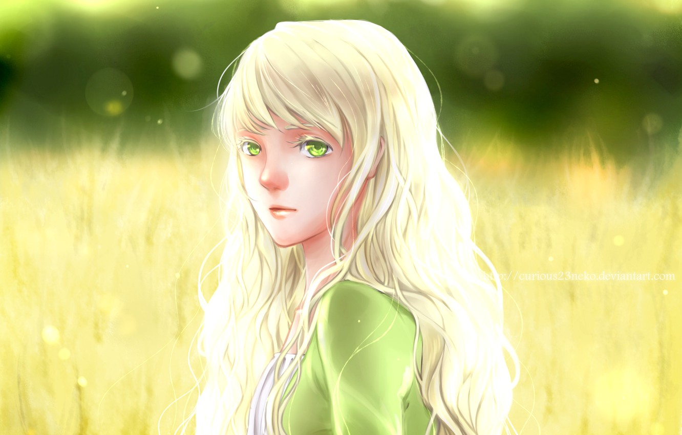 Photo wallpaper summer, look, girl, anime, art, white hair, yellow eyes