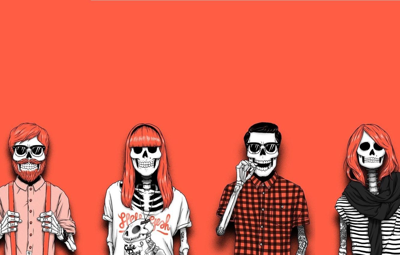 Photo wallpaper Minimalism, Art, Illustrator Sebastien Cuypers, Skeleton-Mods