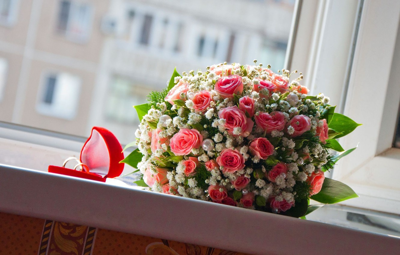 Photo wallpaper roses, bouquet, ring, sill